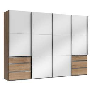 Moyd Wooden Sliding Wardrobe In White And Planked Oak 4 Doors
