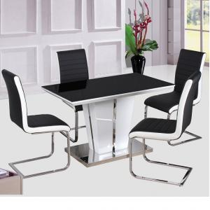 Memphis High Gloss Dining Table Glass Top 120Cm With 4 Chair