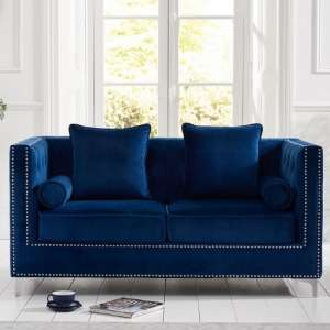 Mulberry Modern Fabric 2 Seater Sofa In Blue Velvet
