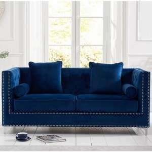 Mulberry Modern Fabric 3 Seater Sofa In Blue Velvet