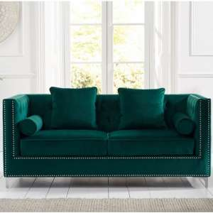 Mulberry Modern Fabric 3 Seater Sofa In Green Velvet