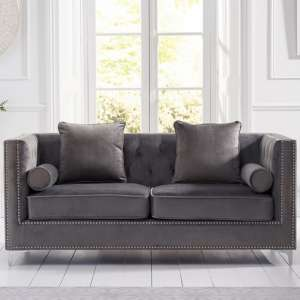 Mulberry Modern Fabric 3 Seater Sofa In Grey Velvet
