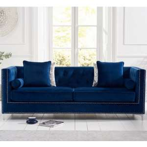 Mulberry Modern Fabric 4 Seater Sofa In Blue Velvet