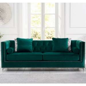 Mulberry Modern Fabric 4 Seater Sofa In Green Velvet