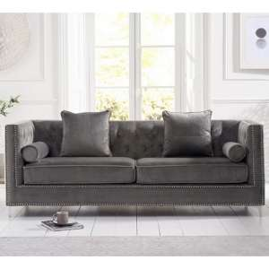 Mulberry Modern Fabric 4 Seater Sofa In Grey Velvet