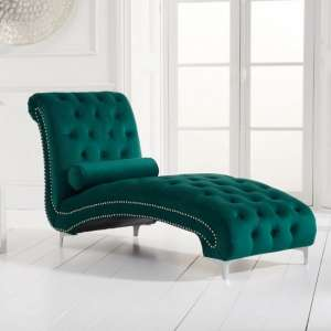 Mulberry Modern Fabric Lounge Chaise In Green Velvet
