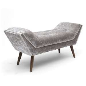 Mulberry Medium Crushed Velvet Chaise In Silver With Wooden Feet