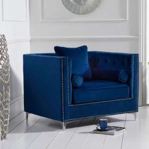 Mulberry Modern Fabric Sofa Chair In Blue Velvet