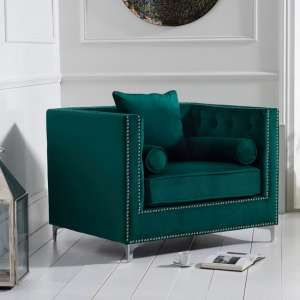 Mulberry Modern Fabric Sofa Chair In Green Velvet