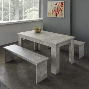 Munich Dining Table In Structured Concrete With 2 Dining Benches
