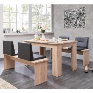 Munich Dining Table In Sonoma Oak And Dining Benches With Seats