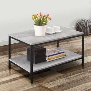Murano Wooden Coffee Table In Concrete Effect With Metal Frame