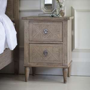 Mustique Mindy Ash Wooden Bedside Cabinet With 2 Drawers