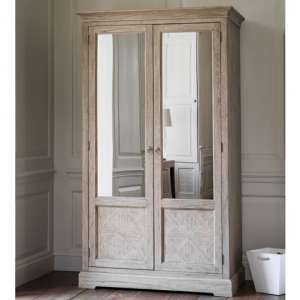 Mustique Mindy Ash Wooden Wardrobe With 2 Mirror Doors
