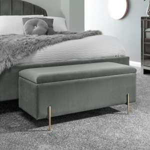 Mystikin Fabric Upholstered Ottoman Storage Bench In Grey