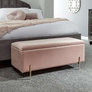 Mystikin Fabric Upholstered Ottoman Storage Bench In Pink