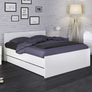Nakou High Gloss Double Bed With 2 Storage Drawers In White