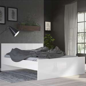 Nakou High Gloss Double Bed In White