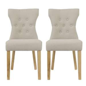 Optro Beige Fabric Dining Chairs In Pair