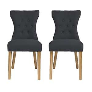 Optro Grey Fabric Dining Chairs In Pair