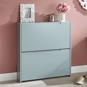 Narrow Wooden 2 Tier Shoe Storage Cabinet In Grey High Gloss