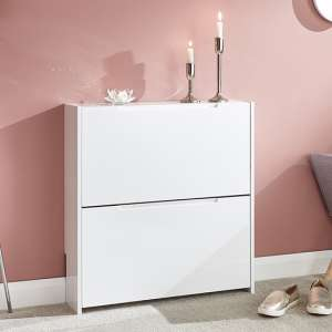 Narrow Wooden 2 Tier Shoe Storage Cabinet In White High Gloss