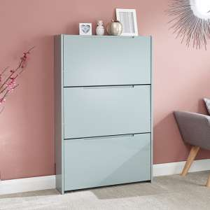 Narrow Wooden 3 Tier Shoe Storage Cabinet In Grey High Gloss