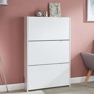 Narrow Wooden 3 Tier Shoe Storage Cabinet In White High Gloss