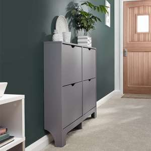 Narrow Wooden Shoe Storage Cabinet In Grey With 4 Drawers