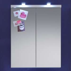 Narto LED Bathroom Mirrored Cabinet In White High Gloss