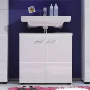 Narto Wooden Bathroom Vanity Unit In White High Gloss