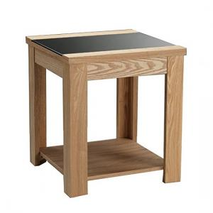 Narvik End Table In Real Ash Veneer and Black Glass