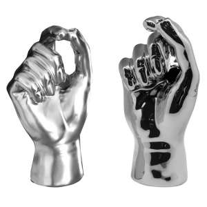Nasty Ceramic Set Of 2 Hand Vases In Silver And Grey