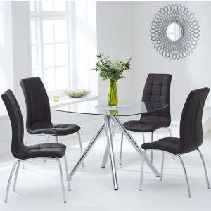 Naxis Square Glass Dining Table With 4 Gala Brown Dining Chairs