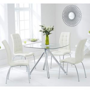 Naxis Square Glass Dining Table With 4 Gala Cream Dining Chairs