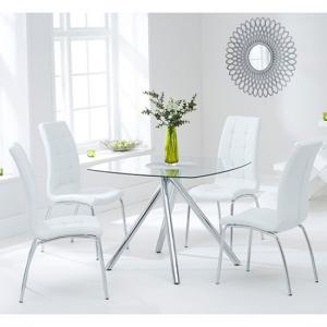 Naxis Square Glass Dining Table With 4 Gala White Dining Chairs