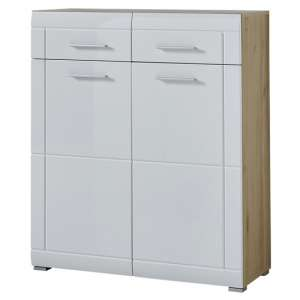 Neapel Shoe Storage Cabinet In Noble Beech High Gloss And White