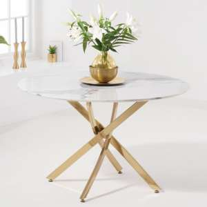 Negros White Marble Effect Round Dining Table With Gold Legs