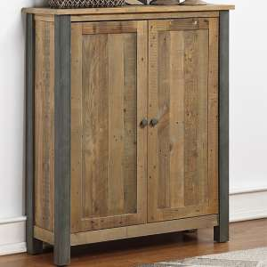 Nebura Large Wooden Shoe Storage Cabinet In Reclaimed Wood