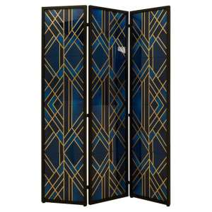 Kitalpha Wooden Folding Patterned Blue And Gold Room Divider