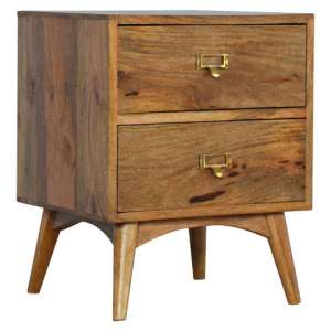 Neligh Wooden Bedside Cabinet In Oak Ish With Brass Metal Handles