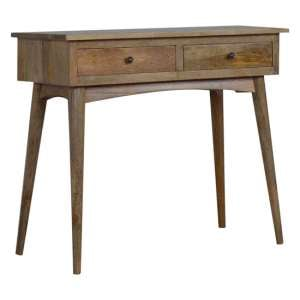 Neligh Wooden Console Table In Natural Oak Ish With 2 Drawers