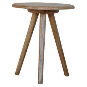 Neligh Wooden Round Tripod Stool In Natural Oak Ish