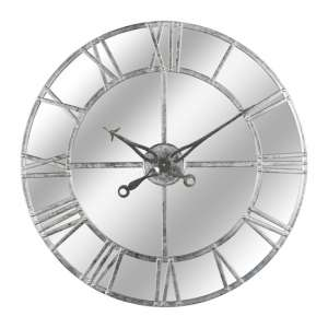 Neoga Small Foil Mirrored Wall Clock In Silver