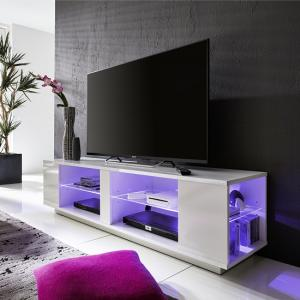 Neomi LCD TV Stand In White Gloss Fronts With LED Lighting