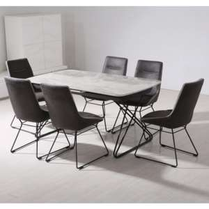 Nero Extending Wooden Dining Set In Grey With 6 Mirko Chairs
