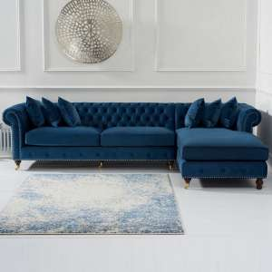 Nesta Chesterfield Right Corner Sofa In Blue Velvet