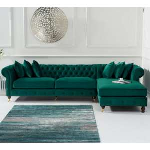 Nesta Chesterfield Right Corner Sofa In Green Velvet