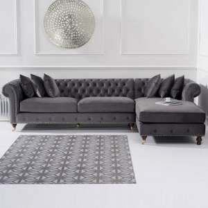 Nesta Chesterfield Right Corner Sofa In Grey Velvet