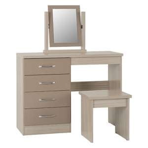 Nevada 4 Drawers Dressing Table Set In Oyster Gloss